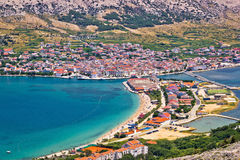 Pag island bay aerial view Royalty Free Stock Images