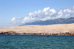 Pag, view from Sv. Duh beach royalty free stock photography