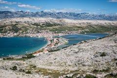 Pag village - Croatian sea Stock Photo
