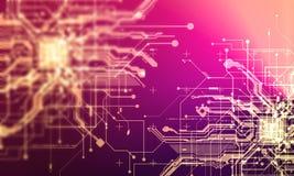 Paga cibernética de los circuitos del absract del Cyberpunk fantástico de alta tecnología del fondo Foto de archivo