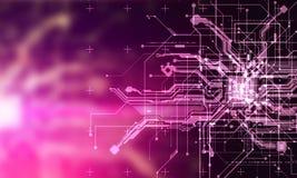 Paga cibernética de los circuitos del absract del Cyberpunk fantástico de alta tecnología del fondo Imagen de archivo