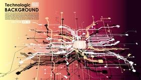 Paga cibernética de los circuitos del absract del Cyberpunk fantástico de alta tecnología del fondo Imagen de archivo libre de regalías