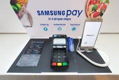 Paga de Samsung en la plaza baja de Yat, Kuala Lumpur Foto de archivo libre de regalías
