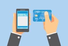 Paga en línea con la tarjeta de crédito Imagen de archivo libre de regalías