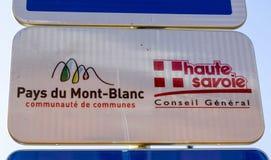 Paga l'indicatore del du Mont Blanc Fotografie Stock