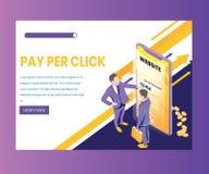 Paga por el concepto isométrico de las ilustraciones del tecleo, donde la gente está ganando el dinero a través de anuncios libre illustration