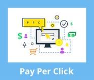 Paga por el ejemplo del tecleo Márketing de Internet, concepto de la publicidad en línea y estilo plano Foto de archivo libre de regalías