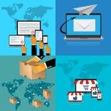 Paga por tecleo; entrega, compras en línea; reparto del correo; Ejemplo del vector en diseño plano Foto de archivo libre de regalías