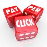 Paga por tráfico en línea de la publicidad de Internet del PPC de los dados de las palabras del tecleo Imagen de archivo libre de regalías