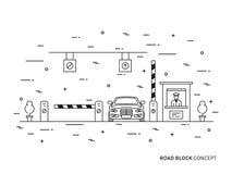 Paga-portone della stazione del controllo della strada, illustrazione lineare di vettore del laccio emostatico Fotografia Stock Libera da Diritti
