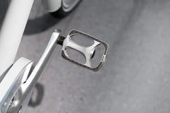 Pagaia d'argento alta chiusa della bicicletta del metallo Fotografia Stock