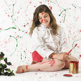 Pagaille de peinture de Noël Image libre de droits