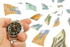 Pagamenti rapidi, operazioni del cambio sull'estero. Fotografia Stock
