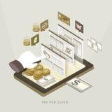 Pagamento 3d isométrico liso pela ilustração do conceito do clique Imagens de Stock
