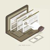Pagamento 3d isométrico liso pela ilustração do conceito do clique Imagens de Stock Royalty Free