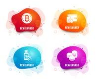Pagamento de Bitcoin, de telefone e de método do pagamento ícones Sinal das pontas Moeda de Cryptocurrency, pagamento móvel, cart ilustração stock