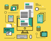 Pagamento de imposto em linha linha lisa ícones e infographics Vector o mal Imagem de Stock