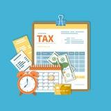 Pagamento de imposto O governo, impostos estaduais Dia do pagamento O formulário de imposto em uma prancheta, calendário financei ilustração stock