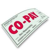 Pagamento deducibile di Co-paga il vostro obbligo Insuranc medico della parte Fotografia Stock