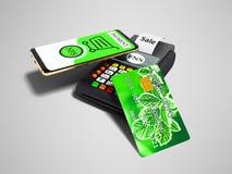 Pagamento del NFS dal telefono con la carta di credito verde sulla posizione della carta di pagamento illustrazione di stock