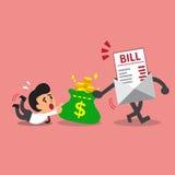 Pagamento della fattura di concetto di affari che ottiene soldi da un uomo d'affari Fotografie Stock Libere da Diritti