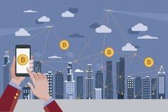 Pagamento di Bitcoin e concetto di Blockchain Fotografia Stock Libera da Diritti