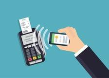Pagamento e conceito móveis da tecnologia de NFC Mãos masculinas usando o smartphone para a compra em linha Ilustração lisa do es Imagem de Stock Royalty Free