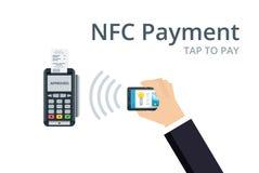 Pagamento e conceito móveis da tecnologia de NFC O terminal da posição confirma o pagamento do smartphone Ilustração lisa do esti Foto de Stock Royalty Free