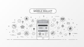 Pagamento móvel, carteira móvel e conceito digital da carteira Pagamento ou através de um dispositivo móvel Linha lisa estilo da  ilustração royalty free
