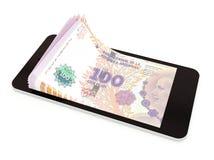 Pagamento móvel com telefone esperto, peso de Argentina ilustração royalty free
