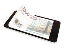 Pagamento mobile con lo Smart Phone, corone scandinave della Danimarca Fotografie Stock