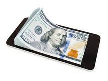 Pagamento mobile con lo Smart Phone, dollaro americano Fotografia Stock