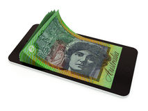 Pagamento mobile con lo Smart Phone, dollaro australiano Fotografia Stock