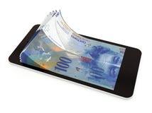 Pagamento mobile con lo Smart Phone, franco svizzero Immagini Stock Libere da Diritti