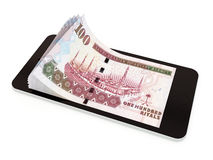 Pagamento mobile con lo Smart Phone, riyal saudita royalty illustrazione gratis