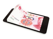 Pagamento mobile con lo Smart Phone, yuan cinese Fotografie Stock Libere da Diritti