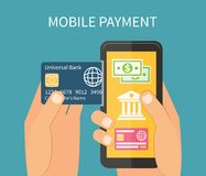 Pagamento mobile facendo uso dello smartphone, attività bancarie online Immagine Stock