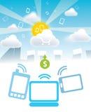 Pagamentos do móbil das nuvens ilustração stock