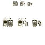 Pagamentos móveis ícones ajustados do vetor Ilustração Royalty Free