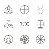 Pagan ancient symbols, mystery sacred icons, illustration. Vector Stock Photo