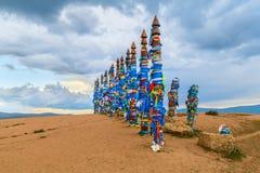 Pagan Buryat Pole Totems on Olkhon island, Lake  Baikal Stock Photography