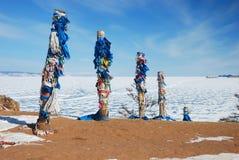 Pagan Buryat sacred poles Royalty Free Stock Images