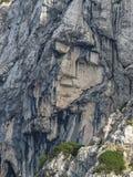 The Pagan Girl Ajdovska deklica a face in the northern wall of Prisank mountain royalty free stock photos