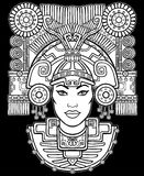 Pagan goddess. Motives of art Native American Indian. Vector illustration: the white silhouette on a black background. Ethnic design, boho chic. Print, posters royalty free illustration