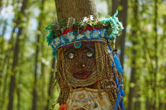 The pagan idol in the  woods. Royalty Free Stock Image
