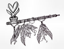 Pagan Indian smoking pipe of love and peace. Royalty Free Stock Image