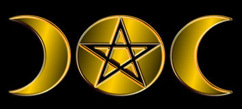 Pagan Moon Phases - Gold )O(. A often used Pagan symbol representing the three phases of the moon, but stylized to include the center full moon containing the royalty free illustration