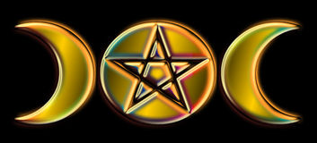 Pagan Moon Phases - Gold Rainbow )O( Royalty Free Stock Photography