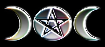 Pagan Moon Phases - Silver )O(. Moon Phases - Silver with Rainbow Glow. An often used Pagan symbol representing the three phases of the moon, but stylized to stock illustration