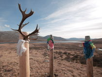 Pagan place of worship Buryats God Burkhan and lake ilchir. Dug into the ground wooden poles decorated with colorful ribbons and rags of cloth, and deer antlers Stock Images